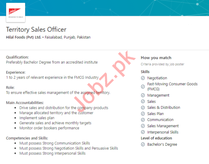Hilal Foods Faisalabad Jobs 2020 Territory Sales Officer