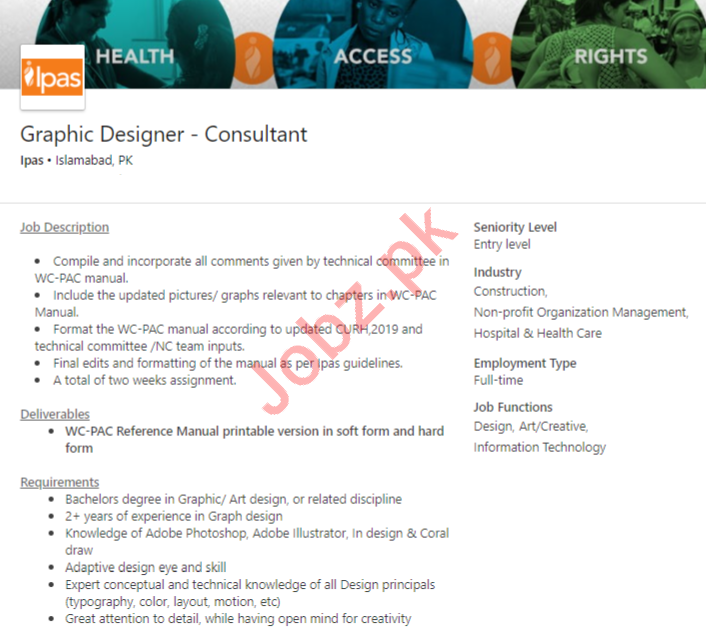 IPAS Islamabad Jobs 2020 for Graphic Designer