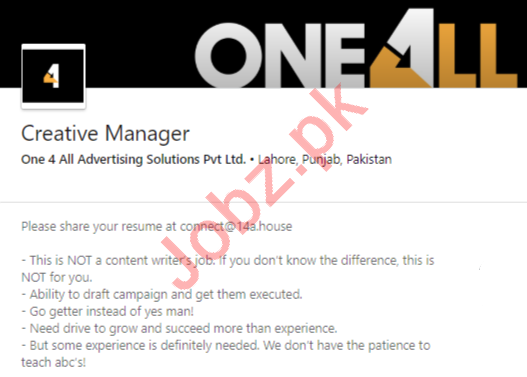 One 4 All Advertising Solutions Jobs for Creative Manager