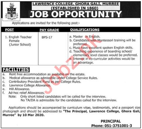 Lawrence College Ghora Gali Teaching Staff Jobs 2020