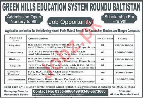 Green Hills Education System Roundu Baltistan Jobs 2020