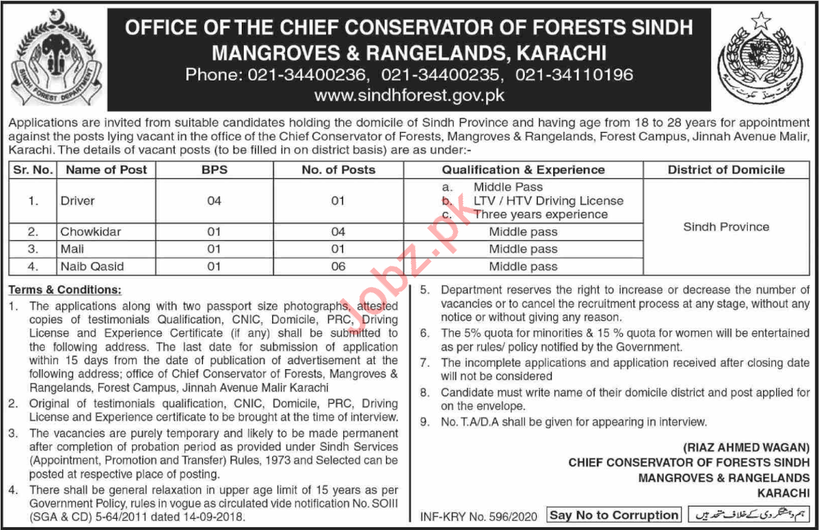 Sindh Forest Department Jobs 2020 in Karachi
