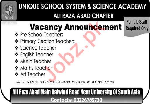 Unique School System & Science Academy Teaching Staff Jobs