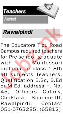 The Educators Tipu Road Campus Teaching Staff Jobs 2020