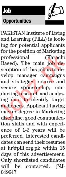 Pakistan Institute of Living & Learning PILL Marketing Jobs