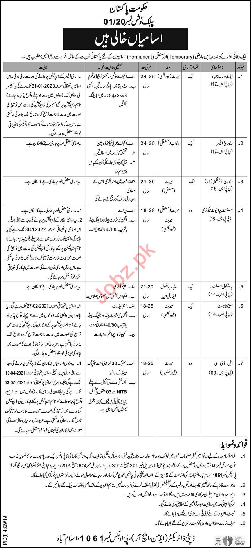 Federal Government Organization Jobs 2020 for Islamabad