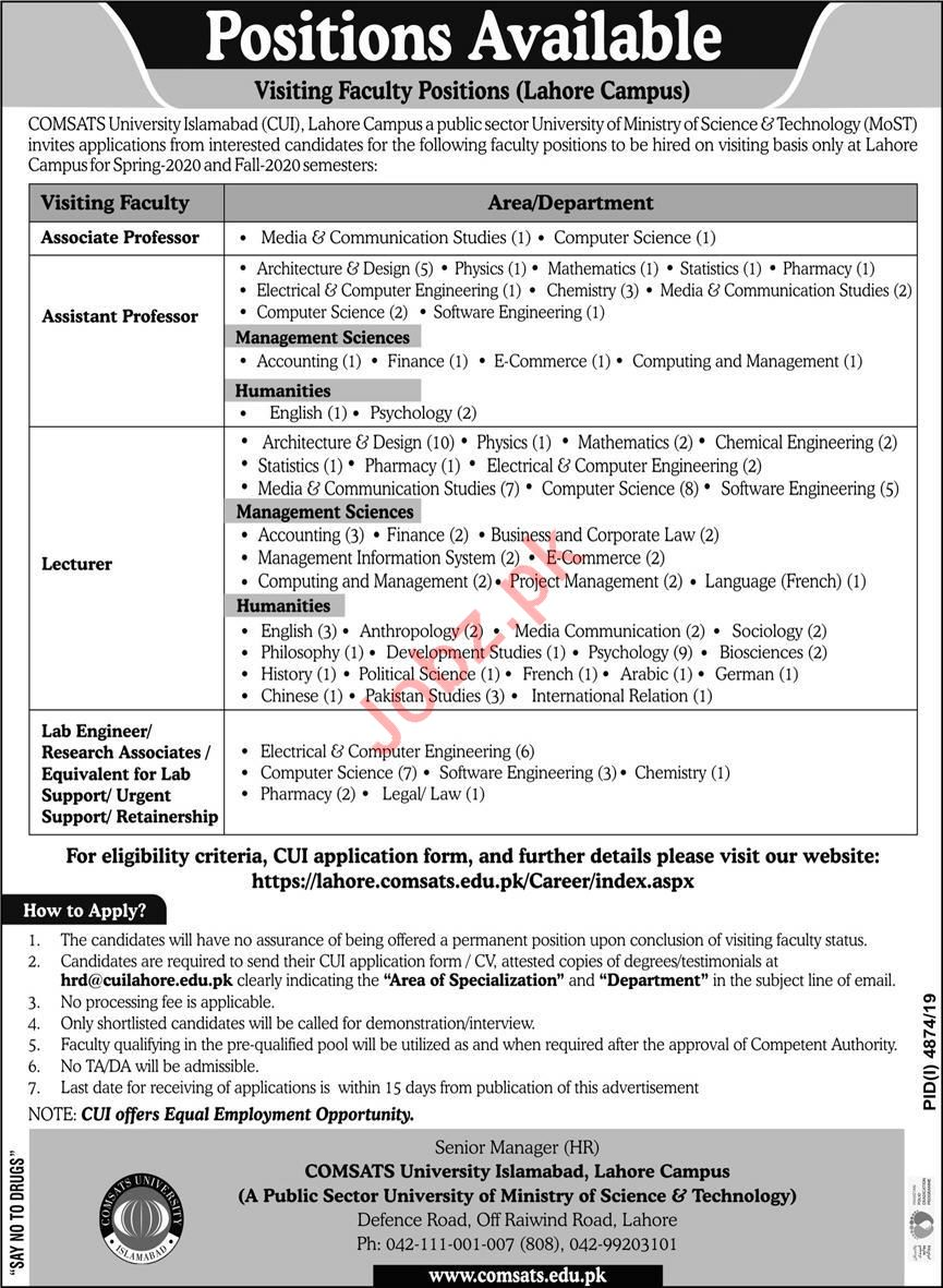 Teaching & Non Teaching Staff Jobs in Comsats University
