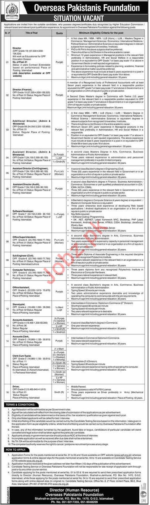 Overseas Pakistanis Foundation OPF Directors Jobs Via CTS