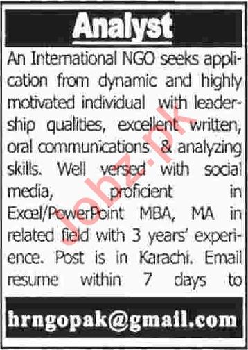 Analyst NGO Jobs 2020 in Karachi