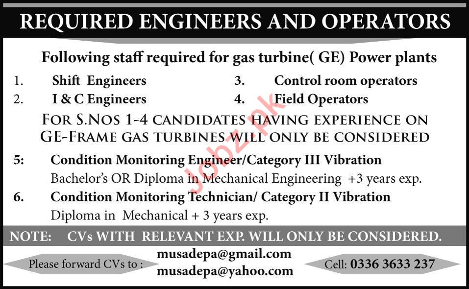 Shift Engineer & Control Room Operator Jobs 2020