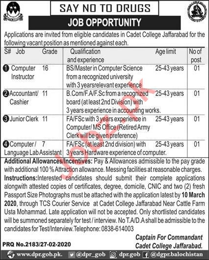 Cadet College Jaffarabad Jobs 2020 for Accountant & Clerk