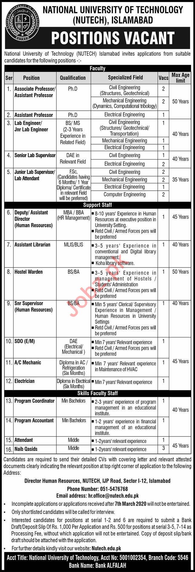 NUTECH University Islamabad Faculty & Non Faculty Jobs 2020