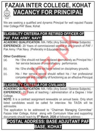 Fazaia Inter College PAF Kohat Jobs 2020 for Principal