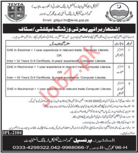 Govt Technical Training Institute Gulberg Lahore Jobs 2020