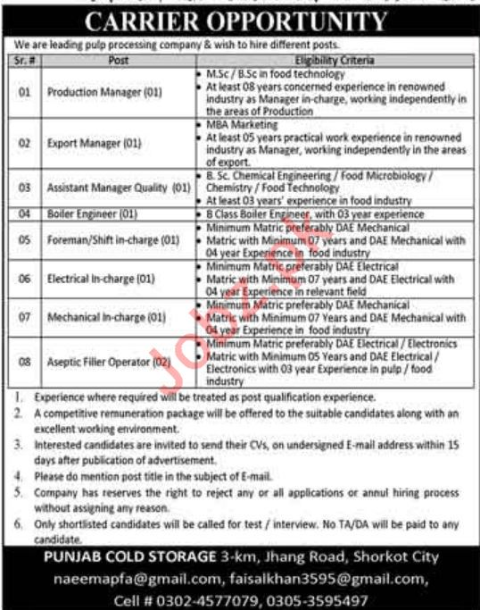 Production Manager & Assistant Manager Quality Control Jobs