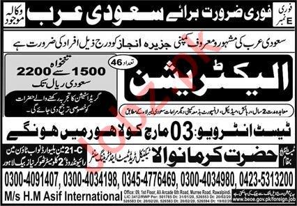 Electrician Jobs Career Opportunity in Saudi Arabia