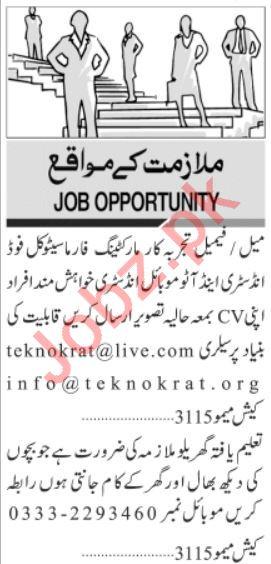 Sales & Marketing Staff Jobs Career Opportunity in Karachi