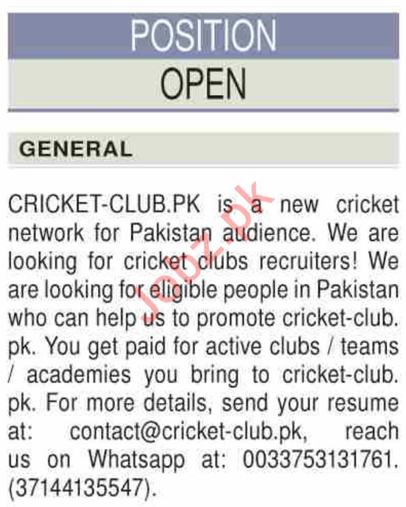 Cricket Club Karachi Jobs 2020 for Cricket Club Recruiters