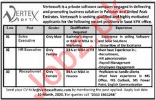 Vertex Soft Pakistan Jobs 2020 for Sales & HR Executive