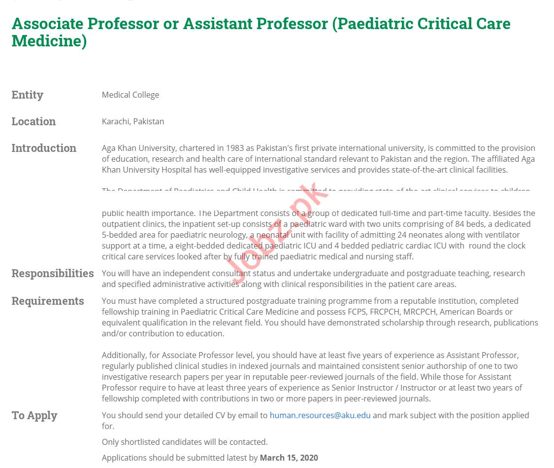 Aga Khan University Medical College Jobs 2020 for Professor