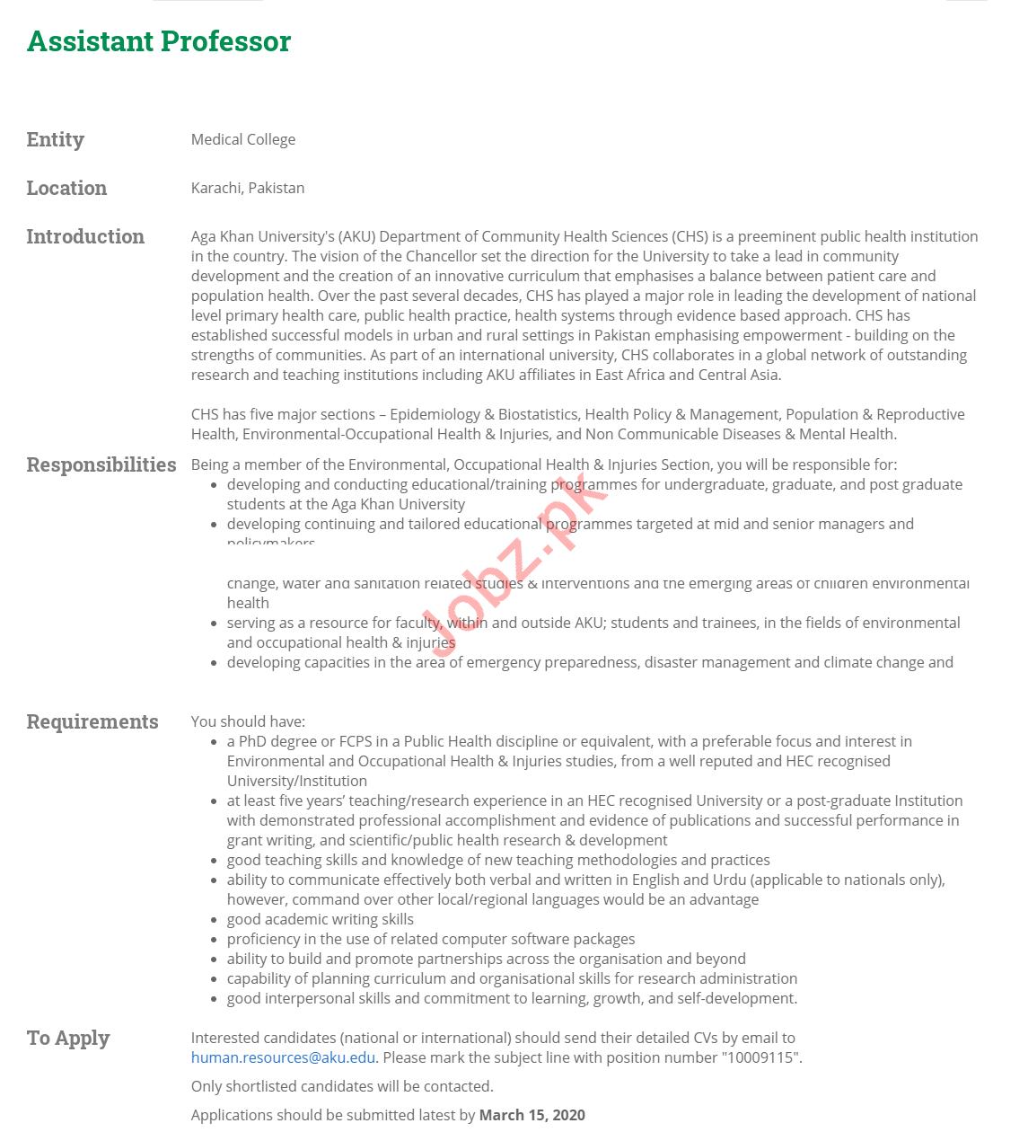 Assistant Professor Jobs 2020 Aga Khan University AKU