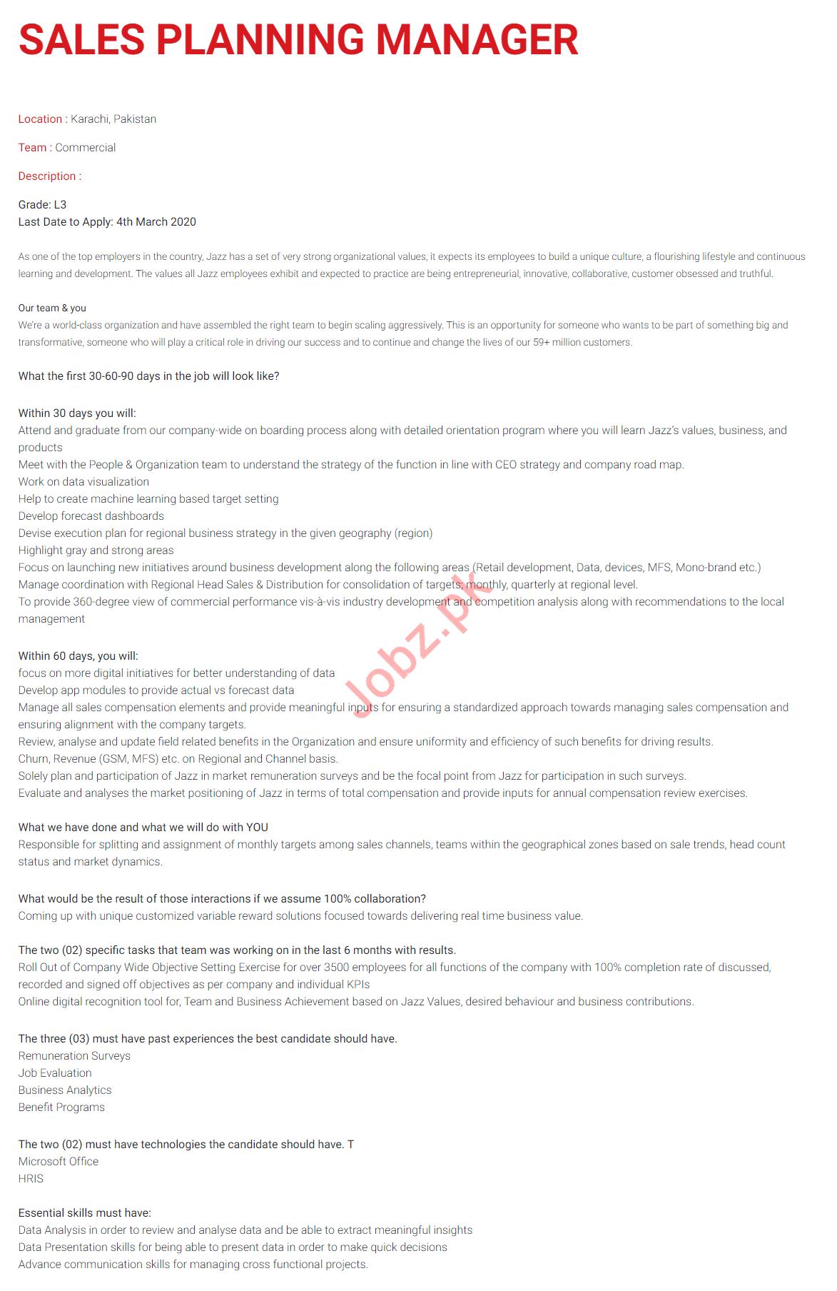 Sales Planning Manager Jobs 2020 in Jazz Telecom Karachi