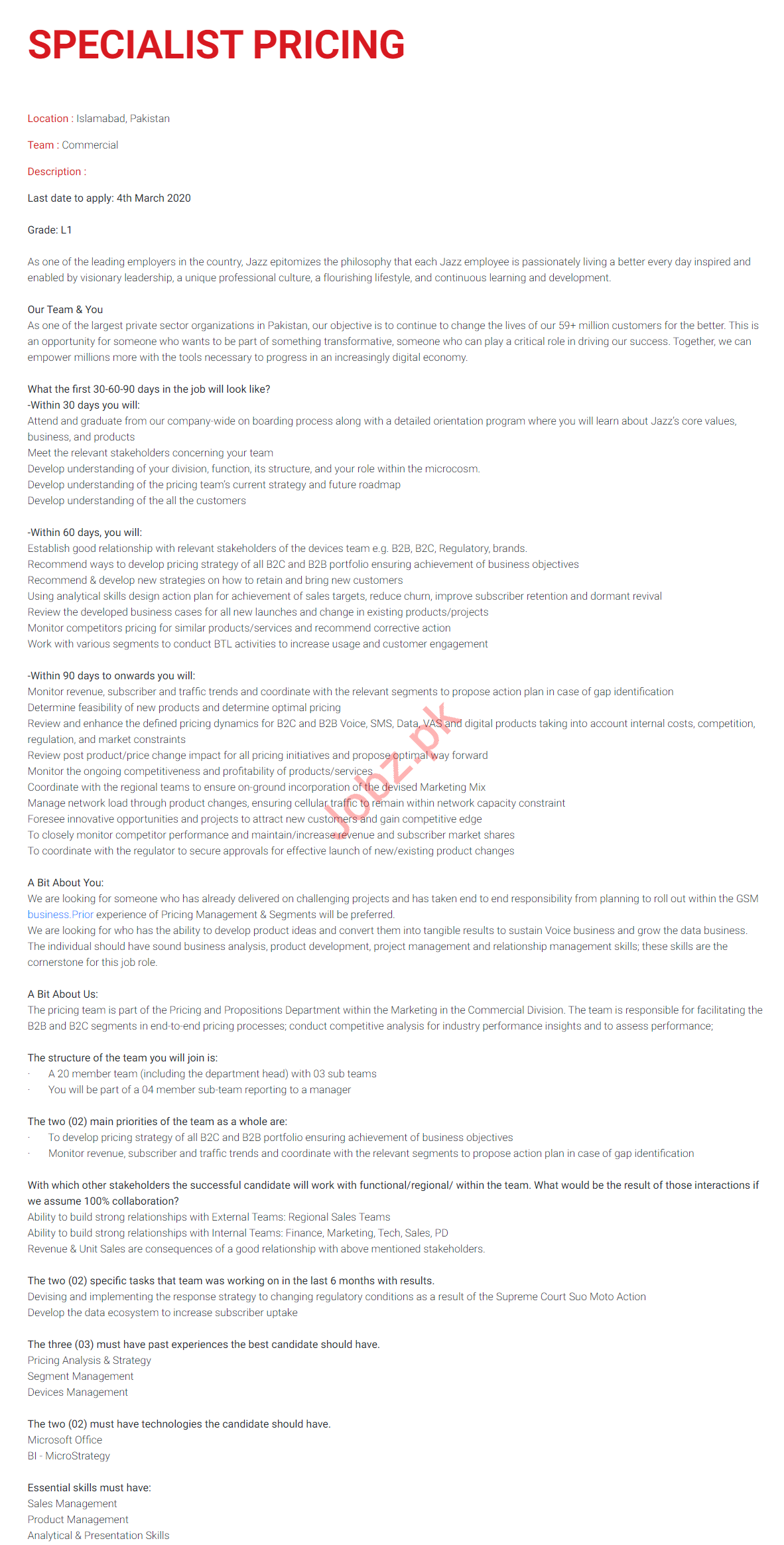 Jazz Telecom Islamabad Jobs 2020 for Specialist Pricing