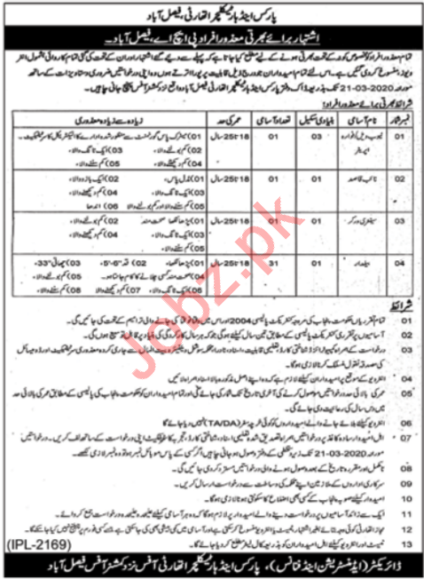 Parks & Horticulture Authority Jobs 2020 in Faisalabad