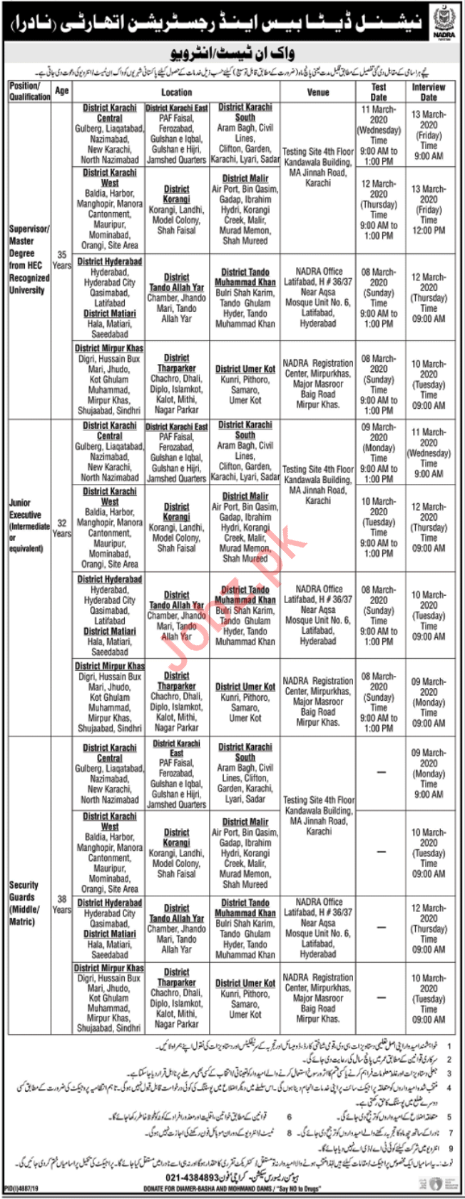 NADRA Jobs Tests & Interviews 2020