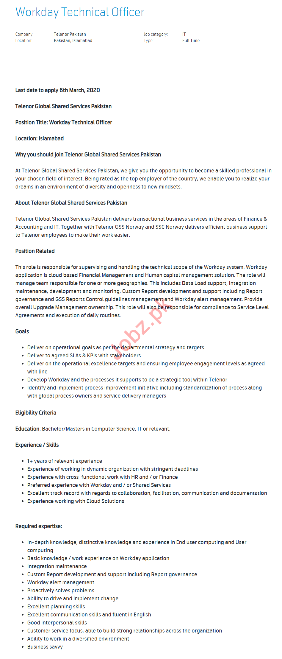 Telenor Pakistan Jobs 2020 for Workday Technical Officer