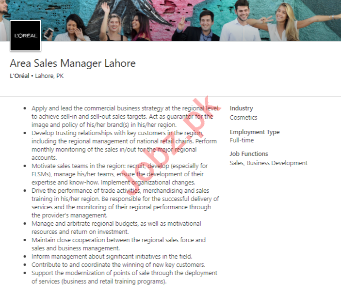 Area Sales Manager Job 2020 in Lahore