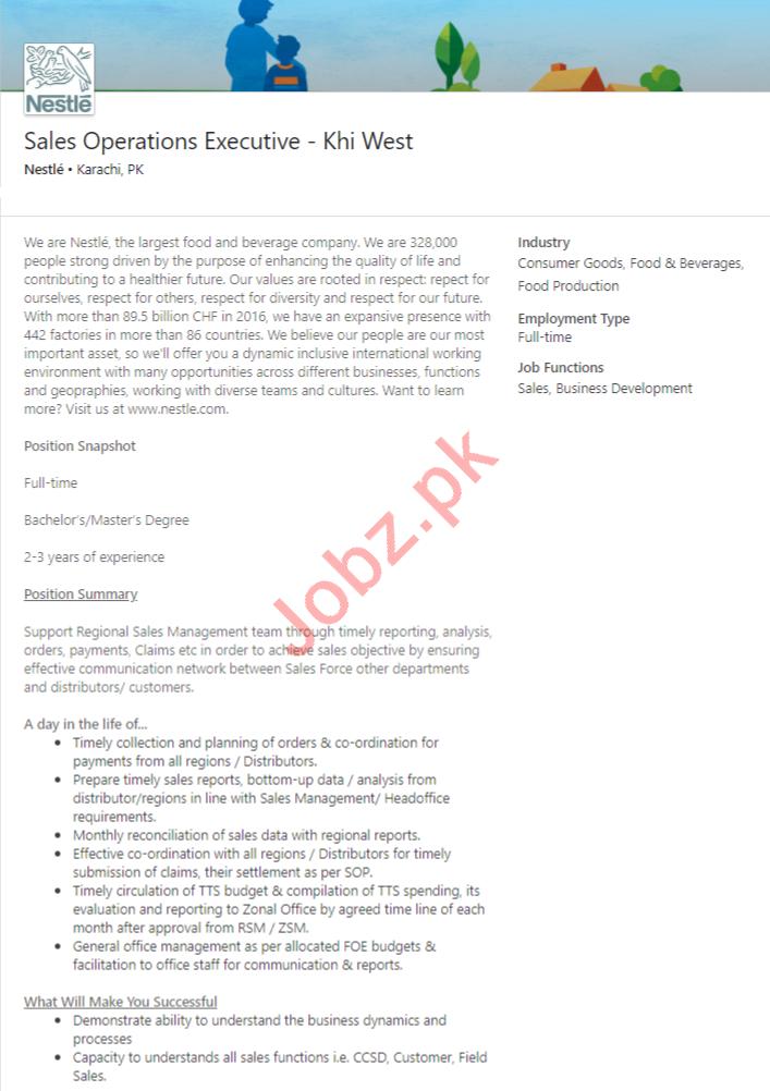 Sales Operations Executive Job 2020 in Karachi