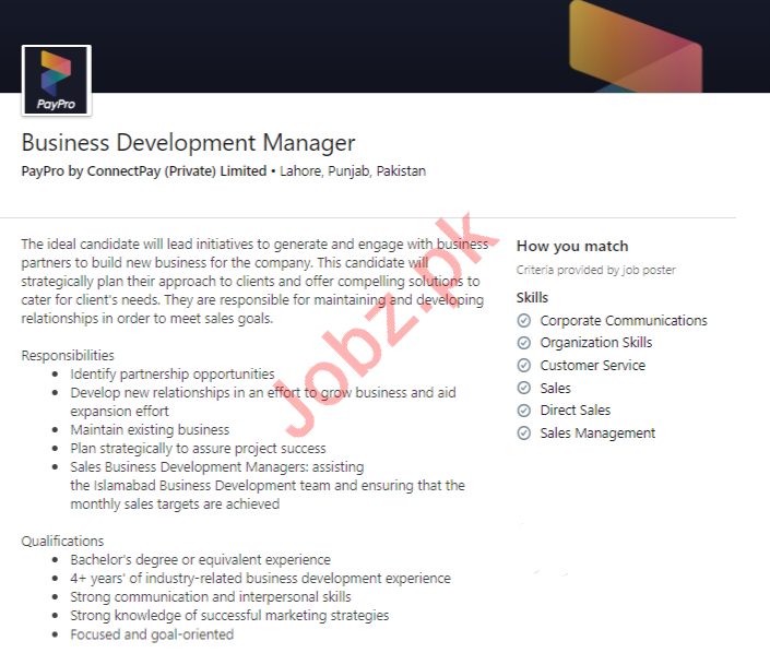Business Development Manager Job 2020 in Lahore