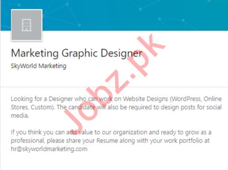 Marketing Graphic Designer Job 2020 in Rawalpindi