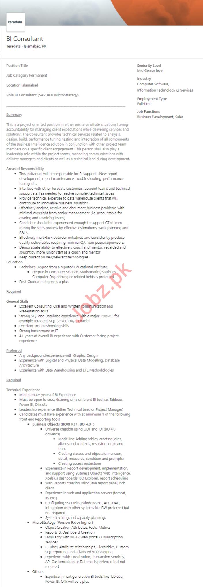 BI Consultant Job 2020 in Islamabad