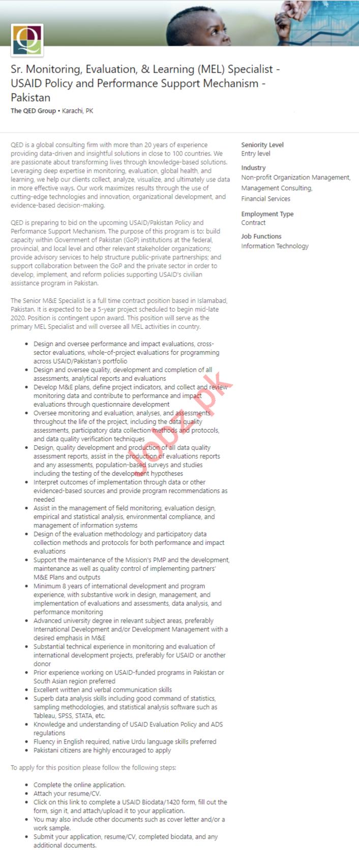 Sr Monitoring Evaluation & Learning MEL Specialist Job 2020