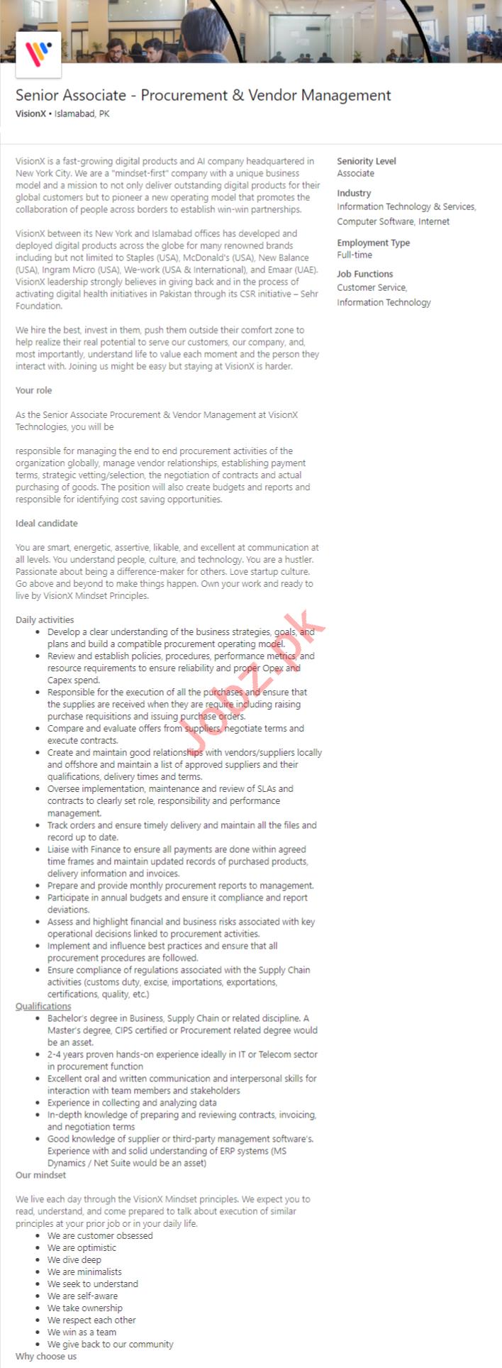 Senior Associate Procurement & Vendor Management Jobs 2020