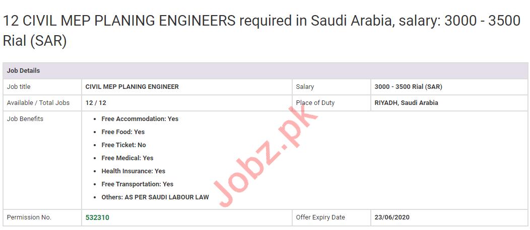 Civil MEP Planning Engineers Jobs 2020 in KSA