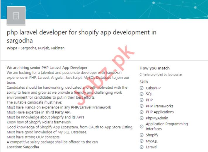 PHP Laravel Developer For Shopify App Development Job 2020