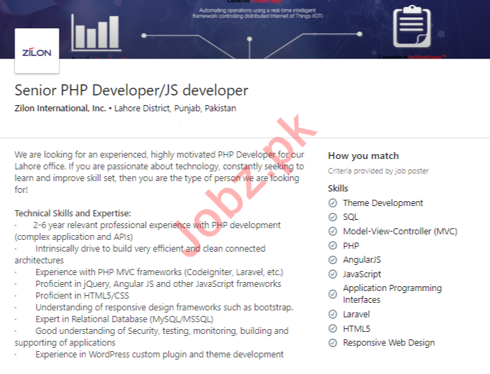 Senior PHP Developer & JS Developer Jobs 2020 in Lahore