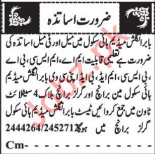 Babar English Medium High School Jobs For Teaching Staff