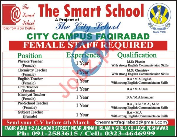 The Smart School City Campus Faqirabad Jobs 2020