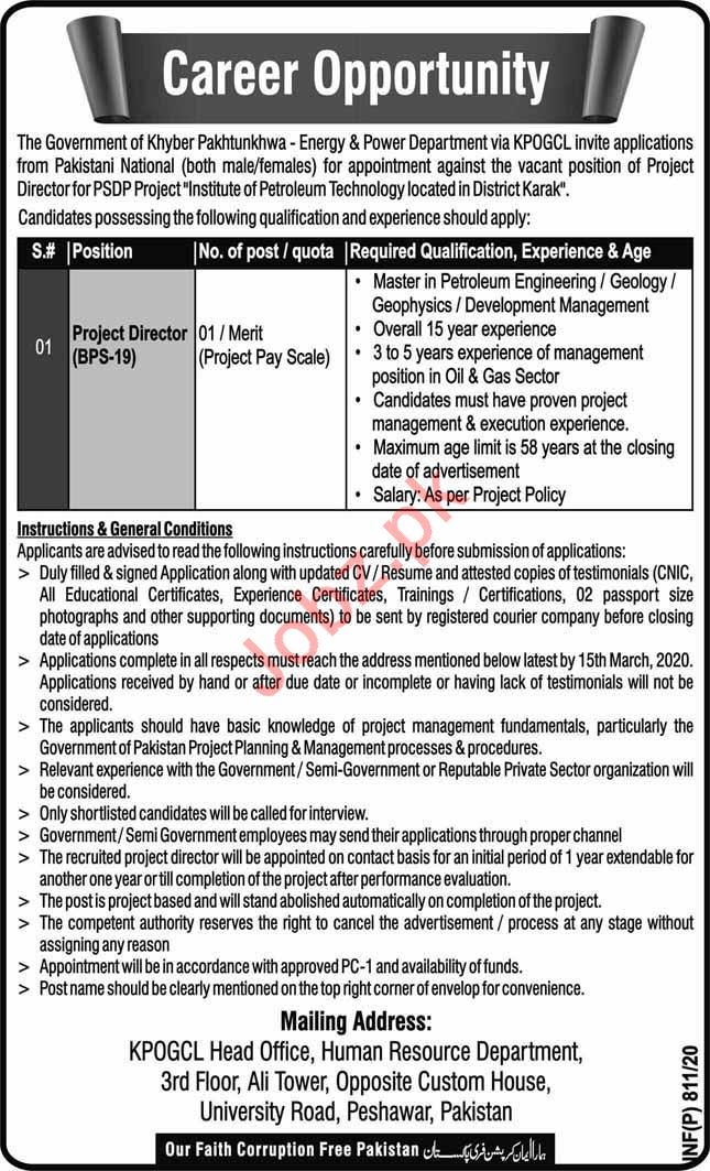 Energy & Power Department Jobs 2020 in Karak KPK