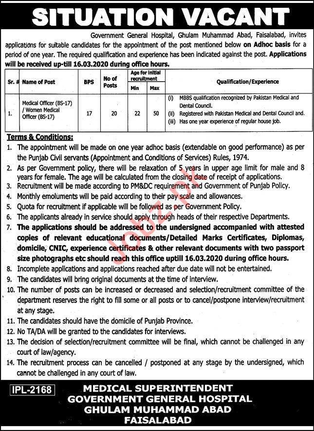 Government General Hospital Jobs 2020 in Faisalabad