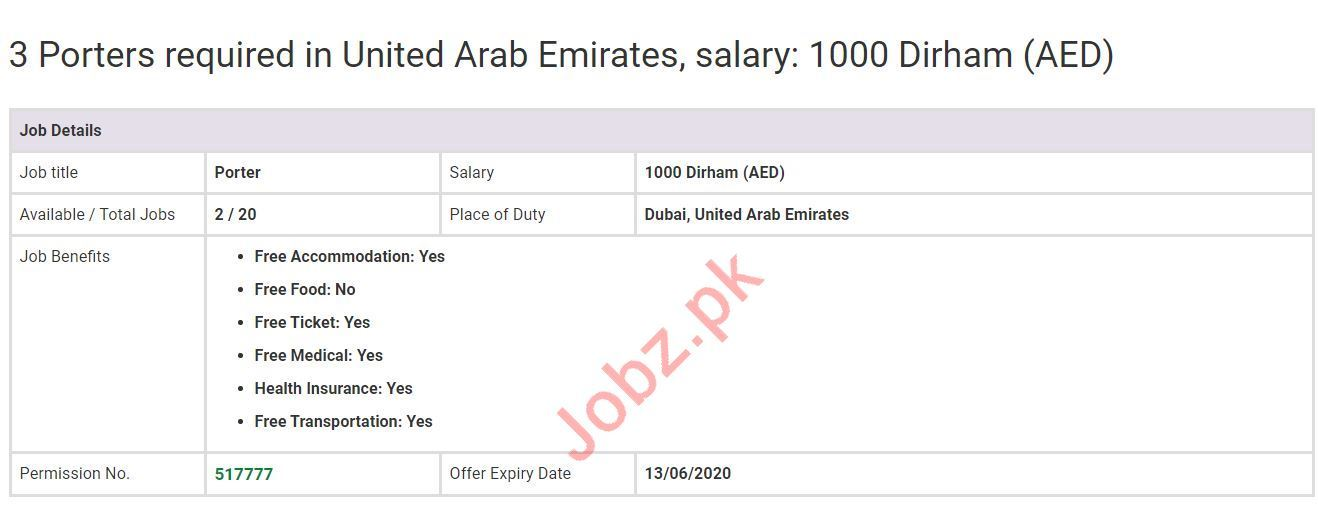 Porter Jobs Career Opportunity in UAE