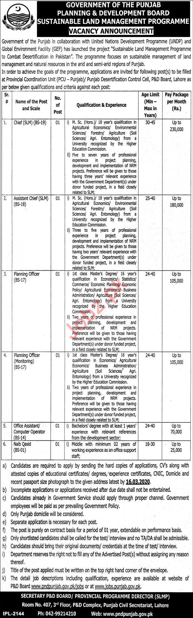 Planning & Development Board Jobs 2020 in Lahore
