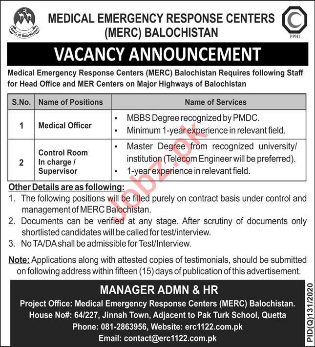 Medical Emergency Response Centers MERC Jobs 2020
