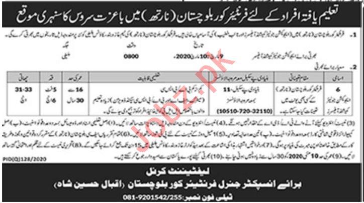 Frontier Corps Balochistan North Jobs 2020