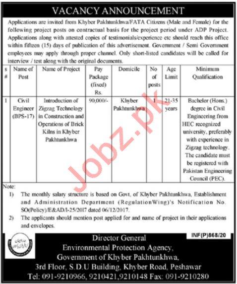 Environmental Protection Agency Jobs 2020 in Peshawar KPK