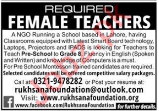 Rukhsana Foundation NGO Jobs 2020 For Teaching Staff